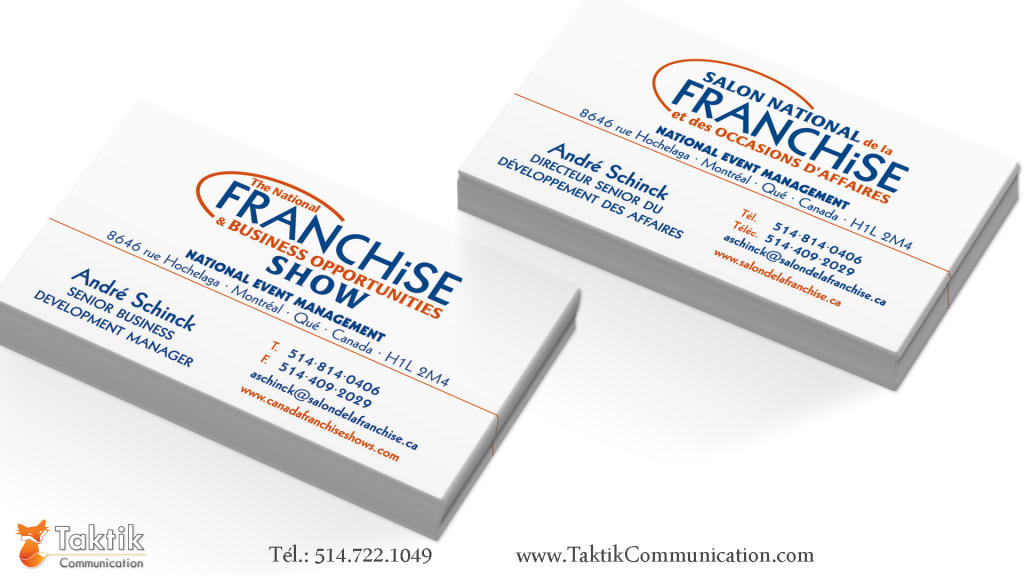 Cartes d 39 affaire salon national de la franchise taktik communication taktik communication - Salon de la franchise date ...